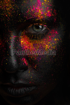 kreative kunst schwarz make up mit