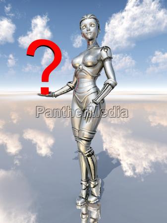 weiblicher roboter mit fragezeichen
