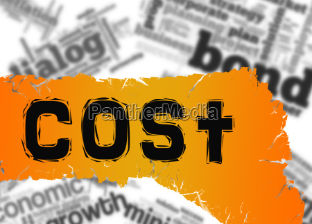 word cloud with cost word on
