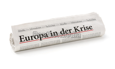 newspaper roll with the heading europe