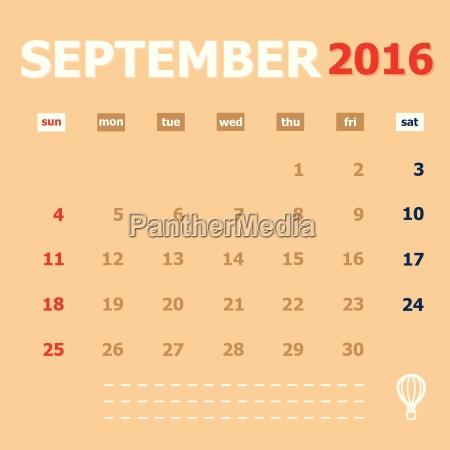 september 2016 monthly calendar template