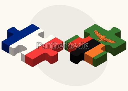 frankreich und sambia flaggen