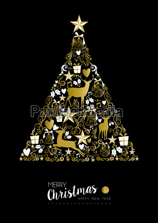 merry christmas happy new year gold
