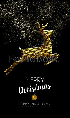 frohe weihnachten neujahr hirsch springen gold