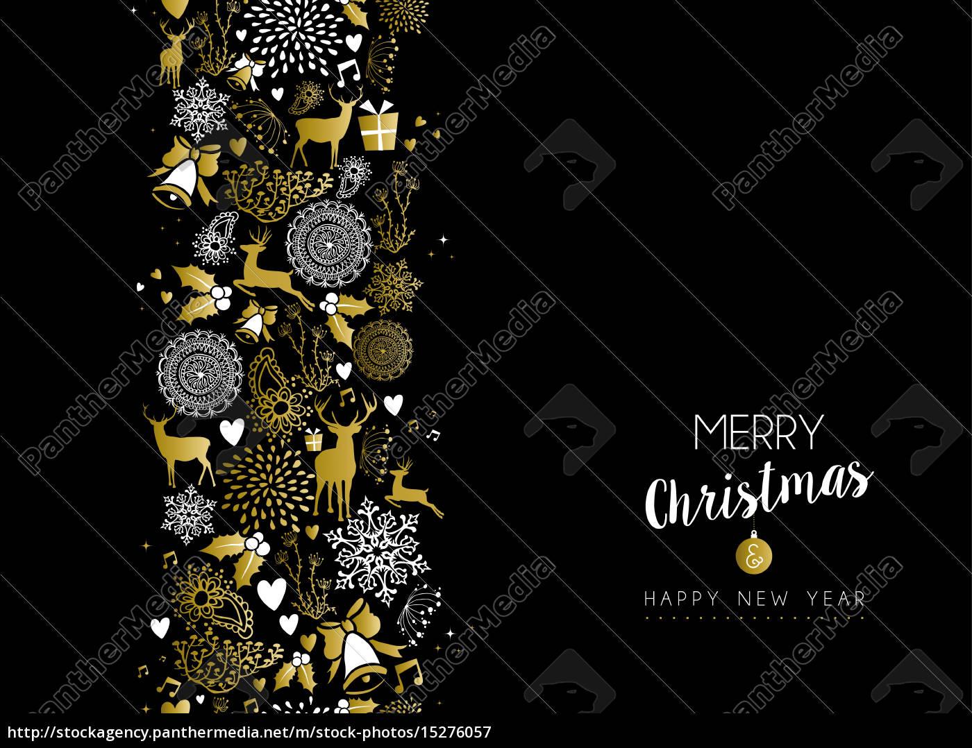 Frohe Weihnachten Gold.Stockfoto 15276057 Frohe Weihnachten Fröhliches Neues Jahr Gold Muster Retro