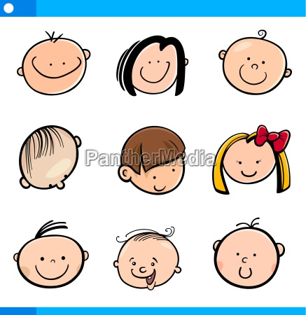 cartoon kids faces set