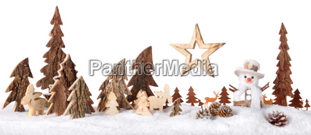 wooden decoration as a cute winter
