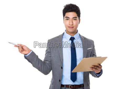 young businessman hold with clipboard and