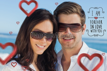 composite image of smiling couple wearing