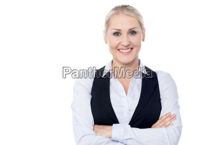 beautiful entrepreneur posing over white