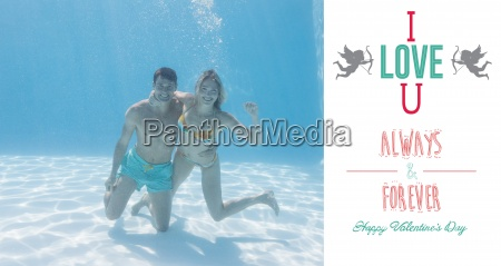 composite image of cute couple smiling
