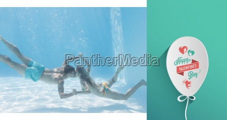 composite image of cute couple holding