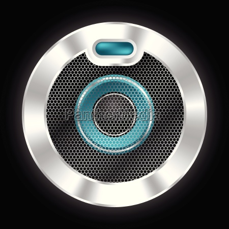 cool metallic speaker with hexagon mesh