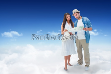 composite image of lost hipster couple