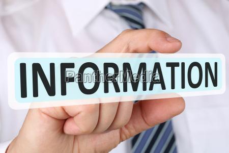 business man konzept mit information info