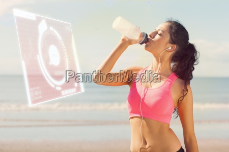 composite image of beautiful healthy woman
