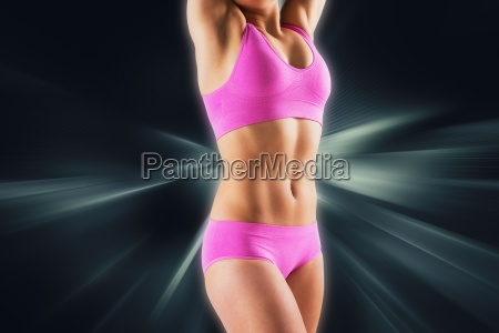 composite image of fit girl stretching