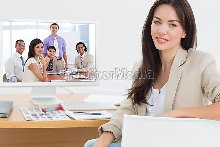 composite image of international business associates