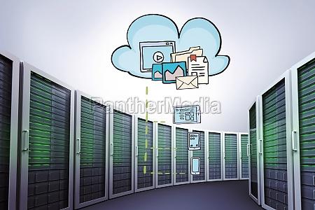 composite image of cloud computing doodle