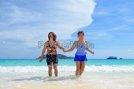 mother and daughter happy on the