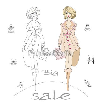 mode shopping ikone doodle set
