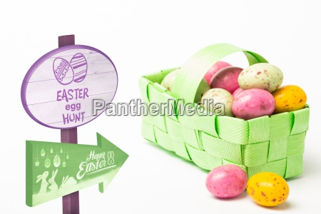 composite image of easter egg hunt