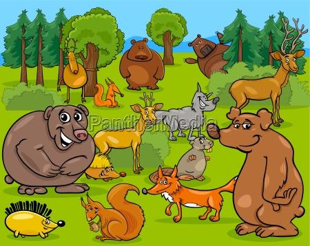waldtiere cartoon abbildung