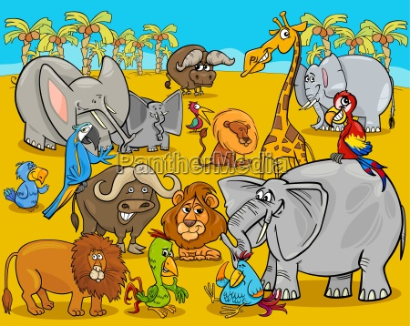 safari animals cartoon illustration