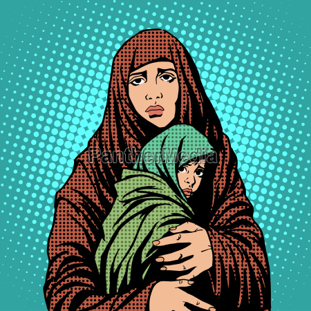 mother and child refugees foreigners immigrants