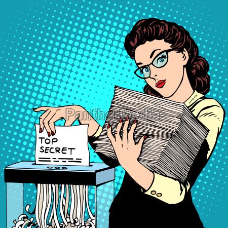 aktenvernichter streng geheimen dokument zerstoert die