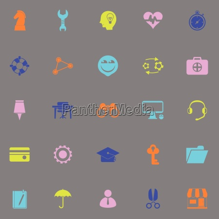 human resource color icons on grey