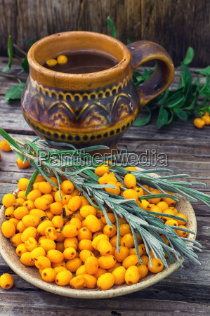 healthy tea with sea buckthorn