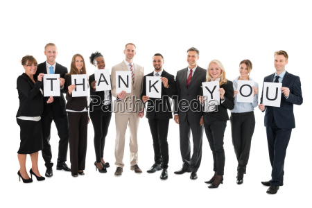 portrait of smiling business team holding
