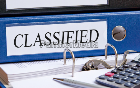 classified blue binder in the