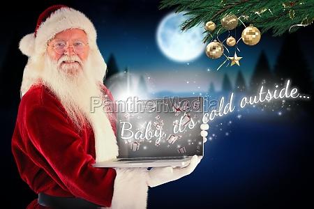 composite image of santa claus presents