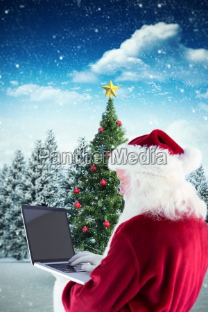 composite image of santa claus uses