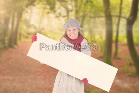 composite image of happy blonde in