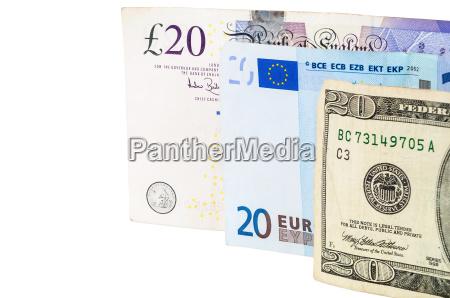 banknoten von 20 pfund euro und