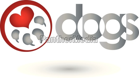 dogs logo paw and heart dogs