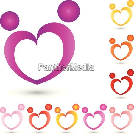 two people logo couple heart