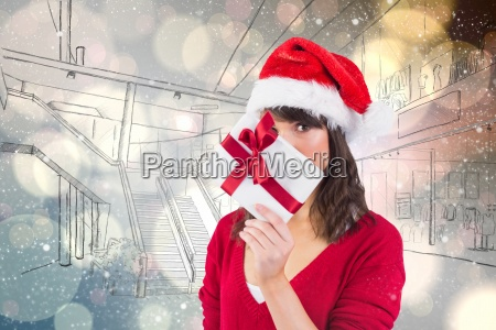 composite image of festive woman looking