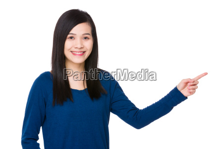 young asian woman with finger up