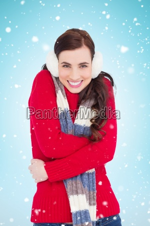 composite image of happy brunette in