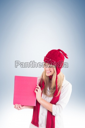 pretty blonde showing red poster