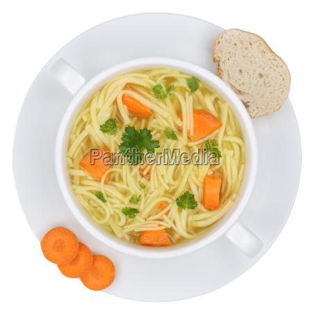 noodle soup broth in soup bowl