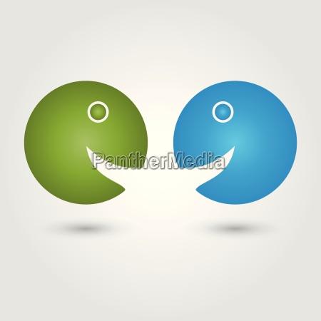 two people logo people communication