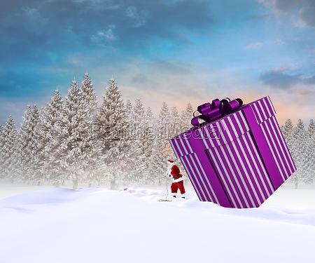composite image of santa delivering large