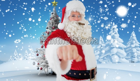 composite image of portrait of santa