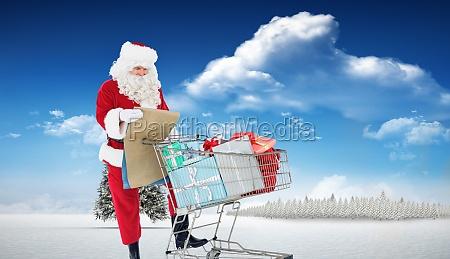 composite image of santa delivering gifts