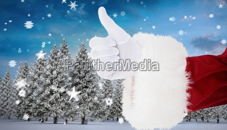 composite image of positive santa claus